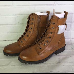 SO Womens Size 6 Broccoli Combat Boots Cognac Tan
